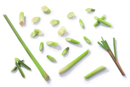 Lemongrass (Cymbopogon citratus), cut stems isolated on whie, top view