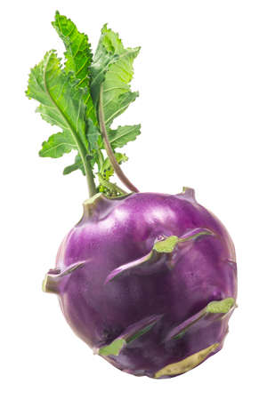 Purple Kohlrabi with leaves isolated on white