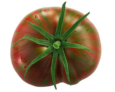 Berkeley Tie Dye heirloom striped bicolor tomato isolated, top view