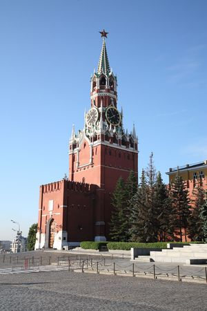 Red square  Moscow, kremlin clock