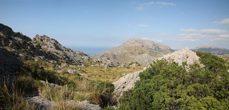 pano: Landscape on road from Pollenca to Soller. Majorca Stock Photo