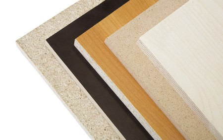 Various kinds of wood chipboard and plywood.