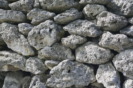 Close-up of an ancient stone wall.
