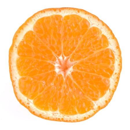 Orange cross section on a white background