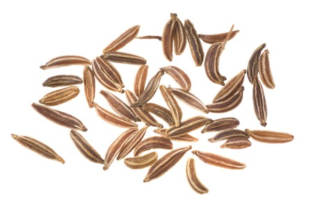 Caraway seeds on a white background Stock Photo