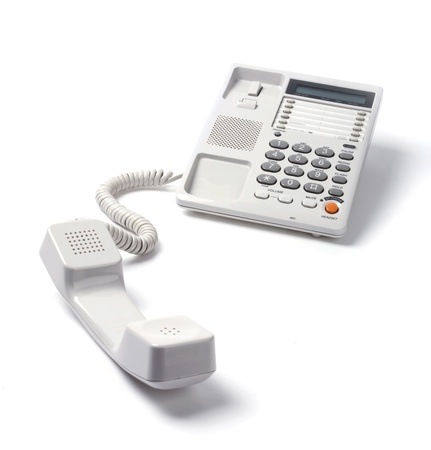 The telephone set on a white background