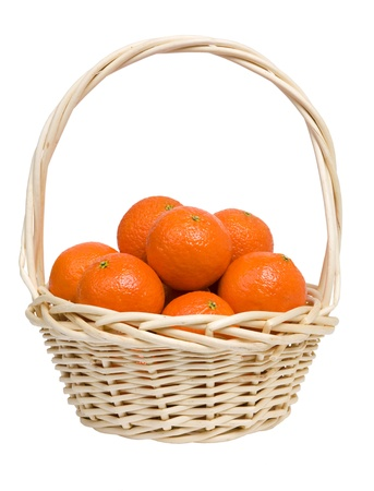 citrous: Basket with tangerines on a white background.