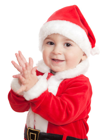 The little happy boy in a suit of Santa Claus Stock Photo