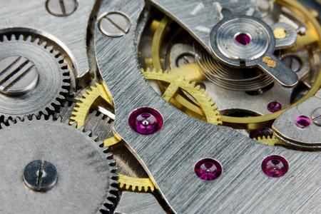 Clockwork of an old mechanical clock close up