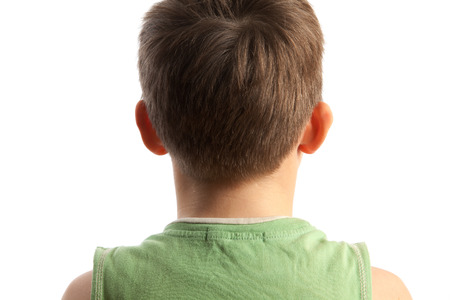 occiput: The boy standing a back to the viewer