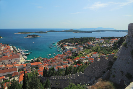 adriatic sea: View of the city of Hvar and harbor from a fortification. Island Hvar. Croatia. Adriatic Sea.