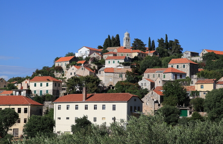 knoll: View on the village Vrisnik, island Hvar, Croatia