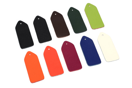 demonstrative: Multi-colored samples of leather on white background