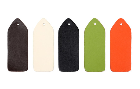 Multi-colored samples of leather on white background