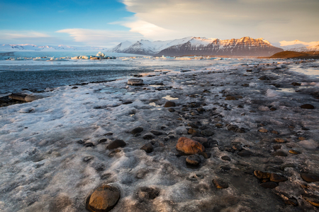 The landscape in Glacier Lagoon J?kuls?rl?n. Iceland, February Stock Photo