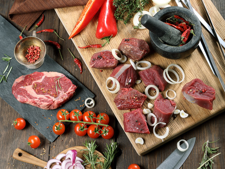 Meat for a grill -  beef steak and shish kebab. Stock Photo