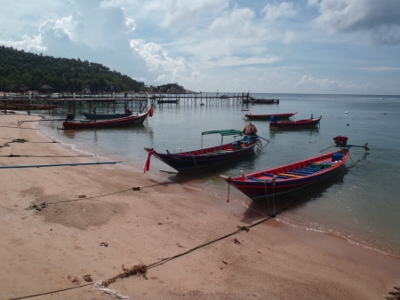 Thai wooden boats photo