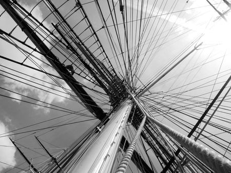 tall ship: Tall ship mast and rigging Stock Photo