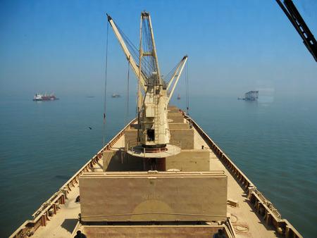 the carrier: BULK CARRIER DECK Stock Photo