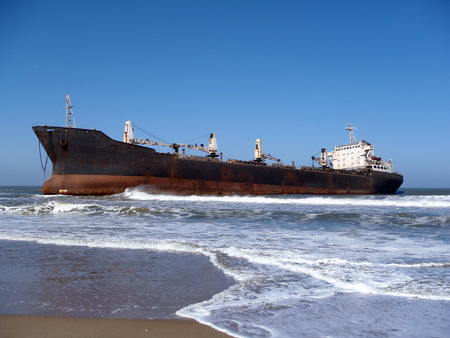 grounded: Ship grounded on beach