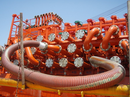 manifold: Cargo manifold on a oil tanker Stock Photo