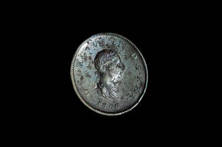 One penny 1806 king George III coin obverse side Reklamní fotografie