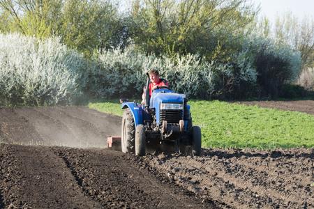 The farmer prepares the garden for planting