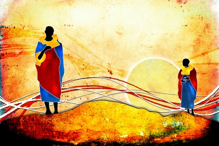 Afrikaanse kunst etnische retro vintage Stockfoto