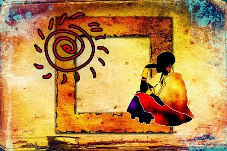 Ethnische retro vintage afrikanische Kunst Standard-Bild - 34462081