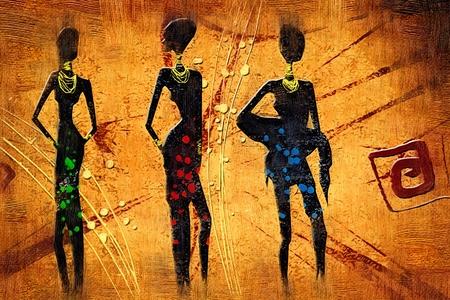 ilustraciones africanas: África arte retro de la vendimia