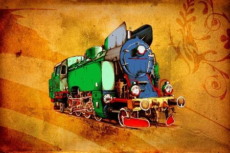 old steam locomotive engine retro vintage photo
