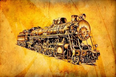옛 증기 기관차 엔진 레트로 빈티지