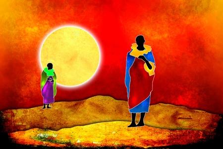 ilustraciones africanas: Estilo vintage retro África
