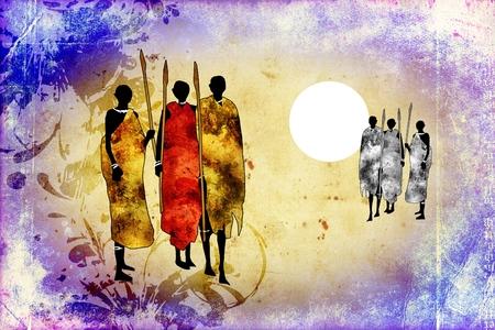 masai: Africa retro vintage style Stock Photo