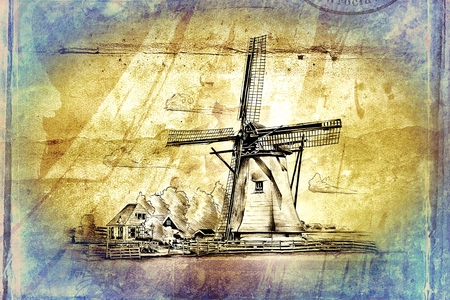 mill valley: windmill old retro vintage drawing Stock Photo