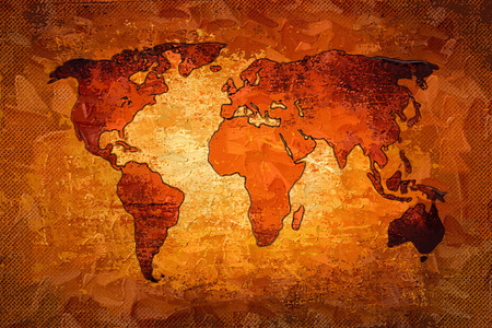 old hand: World map paint design art