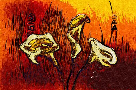 pintura abstracta: Pintura al �leo abstracta de la flor