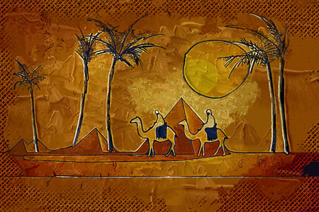 happiness people silhouette on the sunset: African ethnic retro vintage Stock Photo