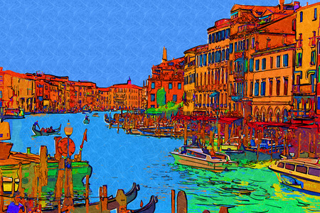 italy background: Venice art illustration