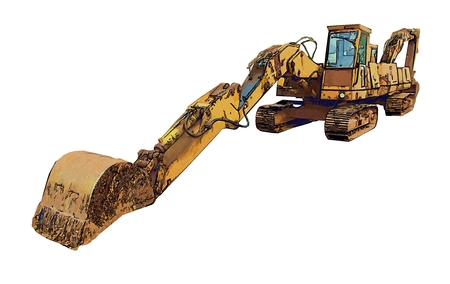 Excavator color illustration