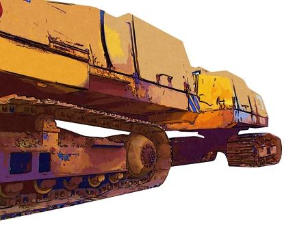 sandpit: Excavator color illustration