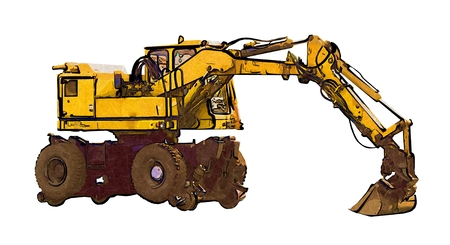 mine site: Excavator color illustration