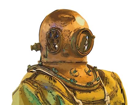 oceanography: Old helmet diver and underwater illustration