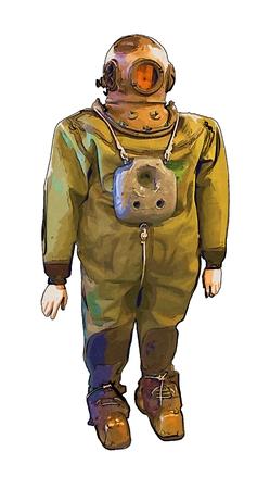 deep sea diver: Old helmet diver and underwater illustration
