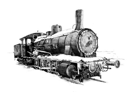 steam locomotive: old steam locomotive engine retro vintage drawing