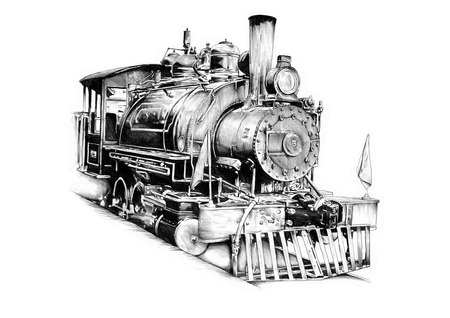 古い蒸気機関車レトロ ビンテージ図面