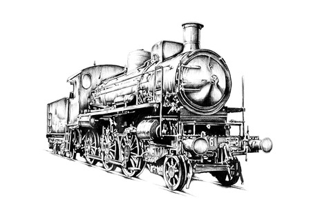 old steam locomotive engine retro vintage drawing