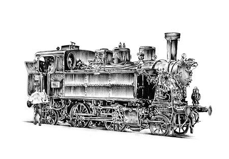 steam engine: old steam locomotive engine retro vintage drawing