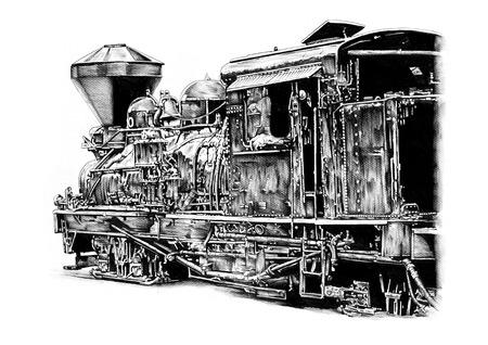 20th: old steam locomotive engine retro vintage drawing