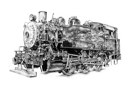 old steam locomotive engine retro vintage drawing